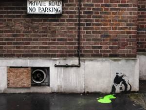 Banksy. Žiurkių nuodai. Graffiti vaizdas Londone