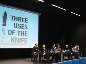 Ketvirtosios dienos diskusija, moderuojama meno kritikės Laimos Kreivytės. Dalyviai - Gintautas Mažeikis, Erika Grigoravičienė, Agnė Narušytė, Audronė Žukauskaitė, Artūras Tereškinas.