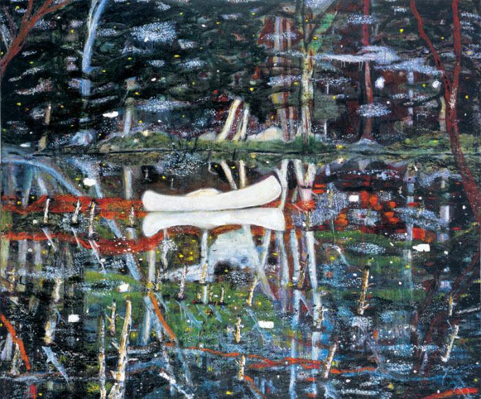 Peter Doig. Balta kanoja.