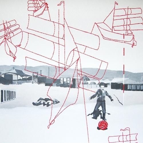 Alisa Mulina - Kites, 2012, dr., akr., vilna, 100x100 cm
