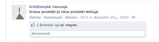2. Socialinio tinklo facebook.com paskyra Krikscionybe Lietuvoje - screenshot'as